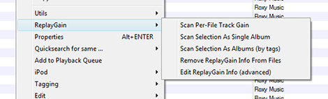 Replaygain context menu