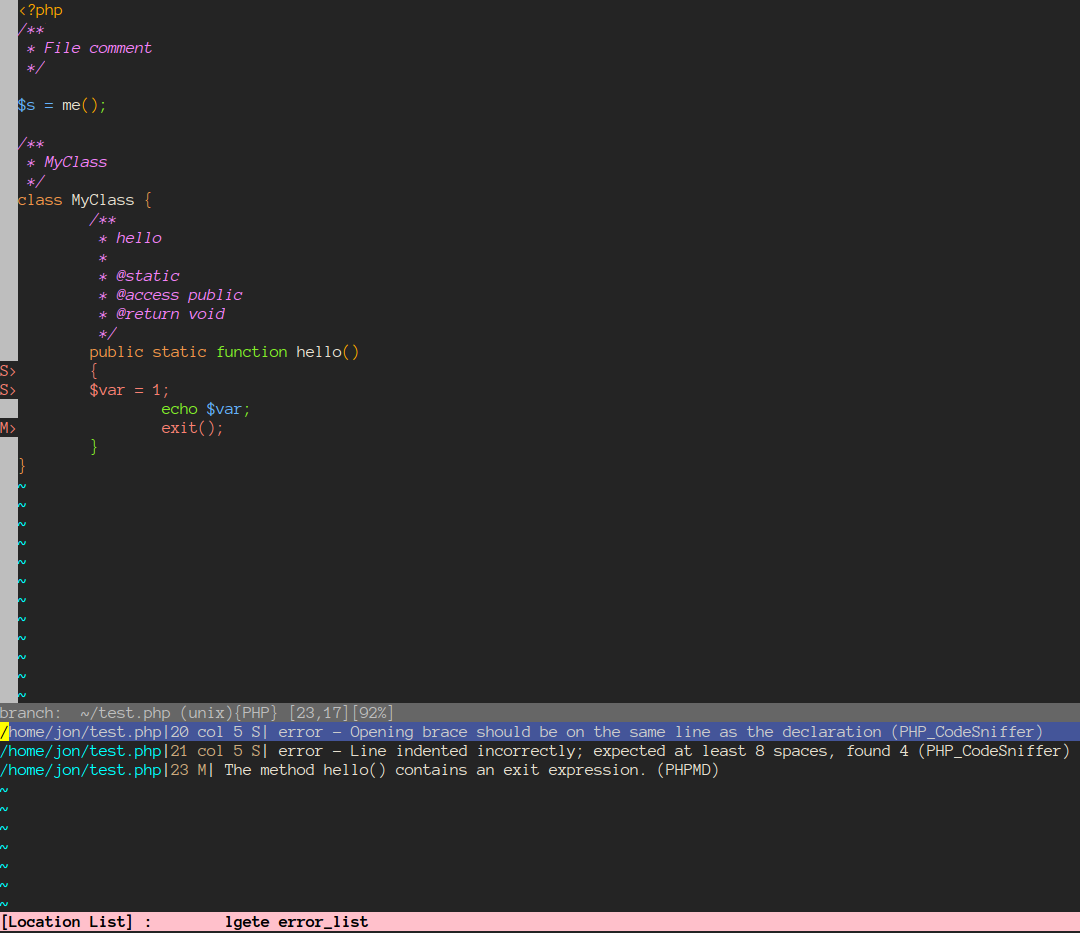 Using Vim as a PHP IDE