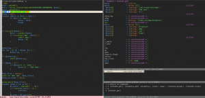 Snapshot of a Xdebug session in Vim